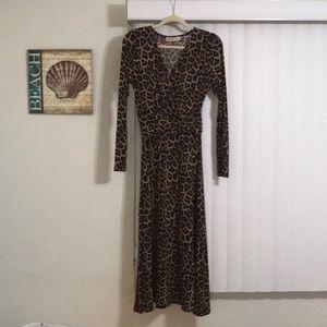 Michael Kors faux leopard wrap dress